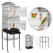 Rolling Metal Bird Cage with Detachable Stand Large Parrot Cage w/ Stand & Toys