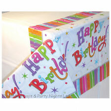 Large Happy Birthday Party Plastic Tablecover Tablecloth Radiant Boy Girl Adult