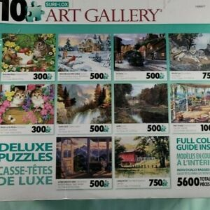 TEN Puzzle Pack Family Night 300 to 1000 Pc Bunny Cat Wolf Train Landscape Bird