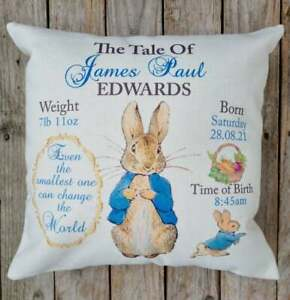 Personalised Flopsy / Peter Rabbit cushion / baby boy girl birthday newborn gift