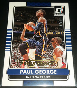 Paul George 2014-15 Panini Donruss PRESS PROOF GOLD Parallel Card (#'d 07/10)