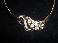 Signed Trifari Necklace Rhinestone Crystal Vintage Antique Gold Tone Choker CHIC