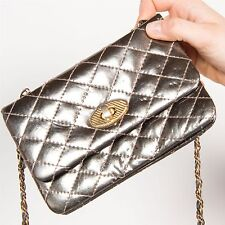 VINTAGE QUILTED METALLIC MINI SHOULDER BAG WOMENS CLASP FASTENING CHAIN HANDLE