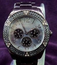 Guess Steel W15001L1 Quartz Calendar Black Mother of Pearl Dial - Crystal Bezel