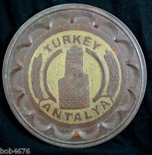 "Vintage 13-3/4"" Brass or Copper Plate ANTALYA TURKEY Clock Tower Hand Hammered"
