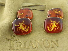 Trianon 18K Yellow Gold Amber Scorpion Scorpio Cufflinks, Ret: $3,000 New w/Tag