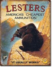 "12 1/2"" X 16"" TIN SIGN LESTER'S AMERICA'S CHEAPEST AMMUNITION METAL SIGN NEW"