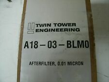 TWIN TOWER ENGINEERING A18-03-BLMO 0.01 MICRON PNEUMATIC AIR FILTER NEW