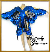 ROYAL BLUE DIVA Drag Queen butterfly SEQUIN DANCE dress