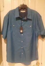 BNWT pd&c Short Sleeve Men's Shirt size 3X BLUE 100% COTTON  FREE SHIPPING!