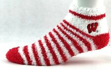 Wisconsin Badgers Red and White Stripe Fuzzy Sleep Socks One Size Fits Most