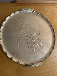 "Beautiful Arthur Armour hammered aluminum equestrian scene platter tray, 14"" W5"