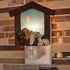 Beautiful NIGHT LIGHT ~ BABY JESUS & LAMB IN STABLE Christmas Nativity