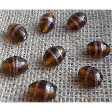 20 HANDMADE INDIAN LAMPWORK GLASS BEADS ~ 15mm Amber Oval ~ 55