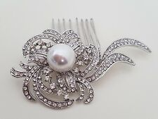 Bridal Wedding Flower Crystal Diamante Pearl Women Hair Clip Comb 151