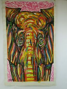 Elephant abstract canvas art painting Ntumed 2013 African multicoloured hanging
