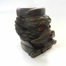 Carved Black Forest Wood Tobacco Jar in Form of Dog Smoking Cigar