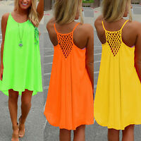 KQ_ FP- Women Summer Casual Sleeveless Strap Backless Beach Dress for Evening Pa