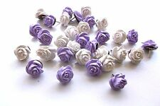 36 Decorative Thumb Tacks White/Lavender Rose Flower Thumbtacks or Push Pins