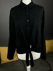 Whistles Black Button Tie Front Jersey Blouse Shirt Top Size S Uk 12 Apx Vgc #T1