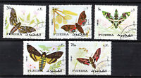 FUJEIRA 1971 BUTTERFLIES / MOTHS SET OF ALL 5 COMMEMORATIVE VALUES STAMPS CTO