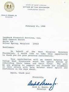"""""""West Virginia Gov"""" Arch A. Moore Jr Signed TLS Dated 1986 Todd Mueller COA"""