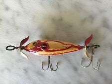 Antique 1915 Heddon Dowagiac Minnow Yelow Tail Fishing Lure (wood, glass eye)