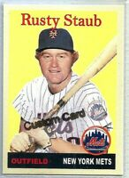 RUSTY STAUB NEW YORK METS 1958 STYLE CUSTOM MADE BASEBALL CARD BLANK BACK