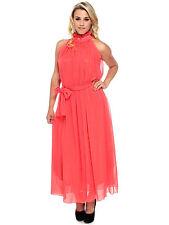 Elegant Women's High Ruffle Neck Chiffon Long Maxi Dress w/ Matching Sash
