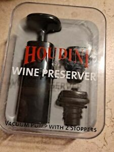 HOUDINI WINE PRESERVER-VACUUM PUMP WITH 2 STOPPERS-NEW IN OPEN BOX