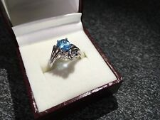 STUNNING LADIES WHITE GOLD TOPAZ AND DIAMOND FANCY DRESS RING SIZE N1/2 NEW