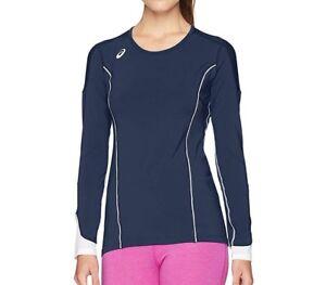 ASICS Domain II Long Sleeve Volleyball Jersey BT3061 Navy Blue / White Size 2XL
