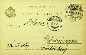 HUNGARY 1904 5f POSTAL CARD TO GONNINGEN GERMANY