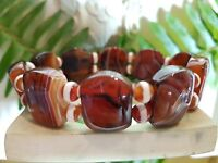 antique style 20MM Natural Gemstone Round Orange Striped Carnelian Bracelet