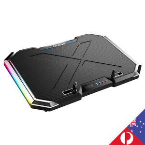 Adjustable 6 Fans Quiet RGB LED Laptop Cooler Stand Desk Table Game AU