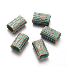 10 Bumpy Alloy Rectangle Metal Beads Antique Bronze Green Large Hole Spacer 22mm