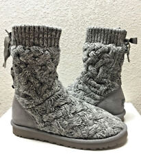 UGG ISLA CABLE KNIT HEATHERED GREY GRAY BOOT sz  US 8 / EU 39 / UK 6.5 - New