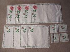 New listing Vintage Embroidered Rose Placemat/Napkin/Coaster Set - Set of 4