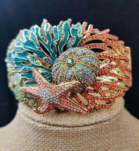 HEIDI DAUS Coastal Collective Enamel Crystal Sea Bracelet SZ LG NIB