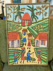 1960s Montas Antoine (Haiti 1926 - 1988) Original Oil On Board - Village Scene