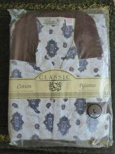 CLASSIC  PYJAMA,,LARGE...COTTON...Brown pattern   .NEW