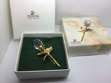 SWAROVSKI CRYSTAL ROSE BUD & GOLD PLATED BROOCH WITH BOX