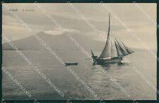 Napoli Città Barca Vesuvio cartolina XB2923