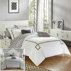 Chic Home Trace 9 Piece Reversible Comforter Bag Greek Key Embroidered Pattern M