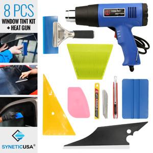 8 PCS Car Window Film Tint+Heat Gun Kits Wrapping Vinyl Tools Squeegee Scraper