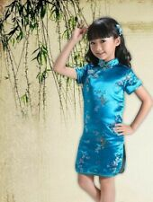 Chinese Oriental Childrens Girls Flower Blue Satin Qipao Cheongsam Dress gcd8