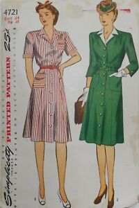 Vintage Simplicity Sewing Pattern #4721 Miss Stylish Dress Size Bust 34 Hip 37