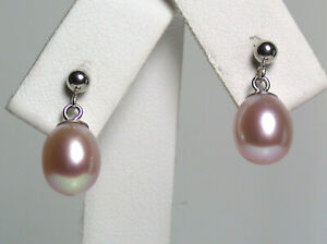 7x9mm AAA quality metallic pink freshwater pearl & 9 carat white gold earrings