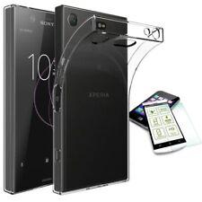 Silikon Tasche Transparent + Hartglas H9 für Sony Xperia XZ1 Compact Hülle Neu