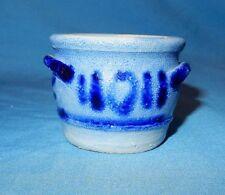 "Cobalt Blue Decorated Mini Stoneware Salt Glaze 1 7/8"" Handled Crock Miniature D"